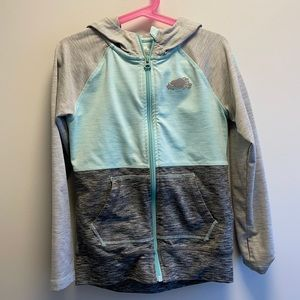 Roots size up sweater, teal & grey, size 5-6 small